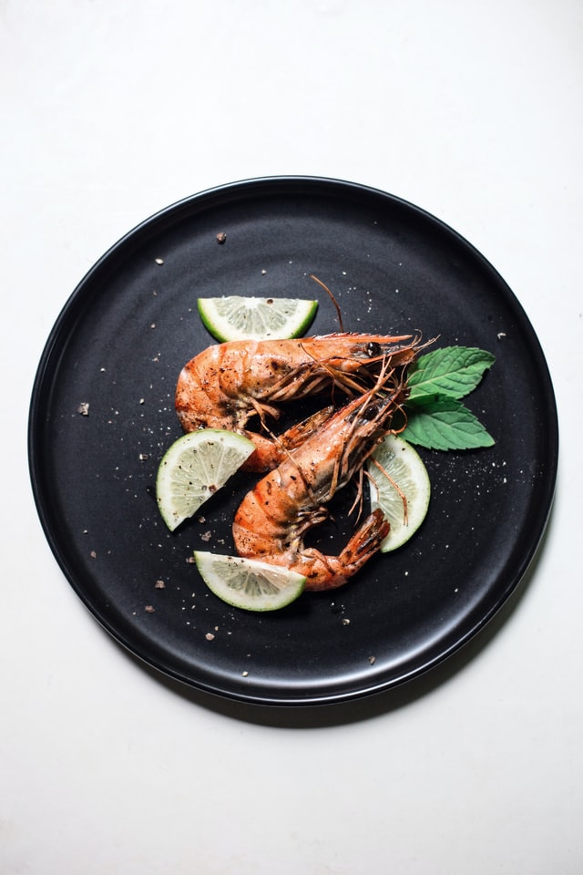 Pair of prawns served on a plate